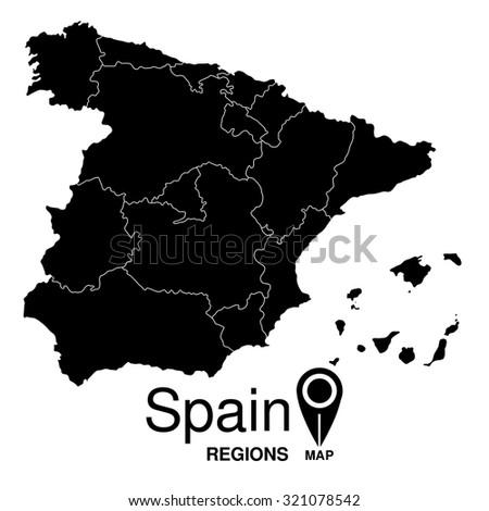 Regions map of Spain. Spain - stock vector
