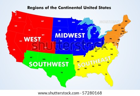 Regions of the Continental United States. Vector.   Source: Public domain National Planning Network (http://www.fhwa.dot.gov/planning/nhpn/) and US Federal Highway Admin. (http://www.fhwa.dot.gov/). - stock vector
