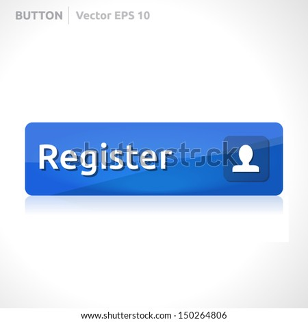 Register button template | vector design | business banner with symbol icon | website element |  blue - stock vector