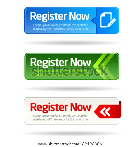 Register now modern minimal button collection - stock vector