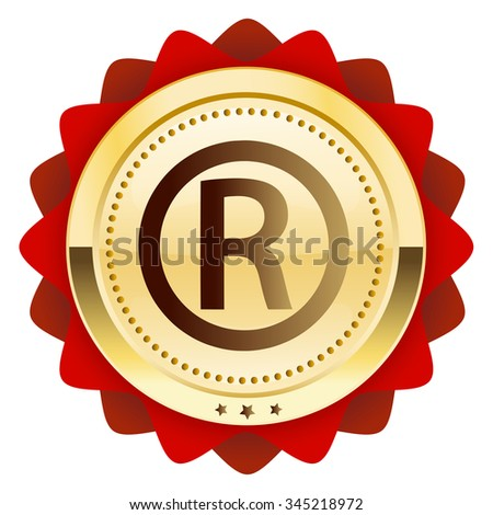 Registered seal or icon. Glossy golden seal or button. - stock vector