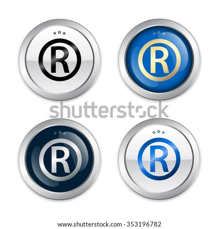 Registered seals or icons. Glossy silver seals or buttons. - stock vector
