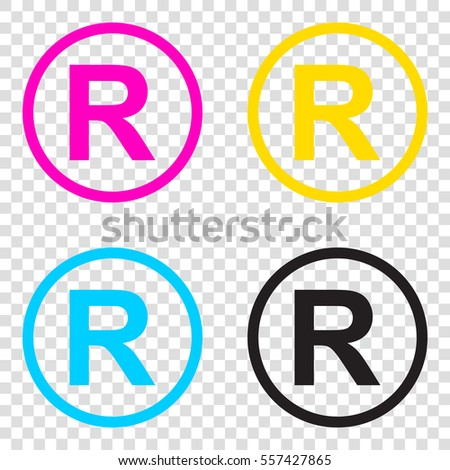 Registered Trademark Sign Cmyk Icons On Stock Vector 557427865