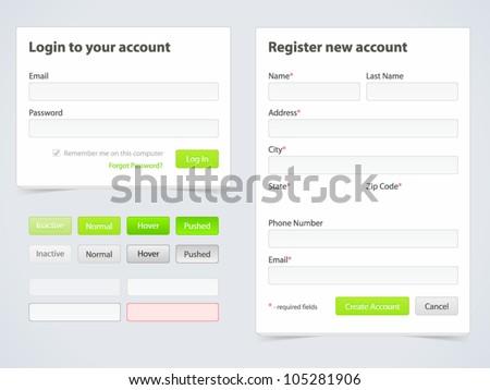 Registration form and login form - stock vector