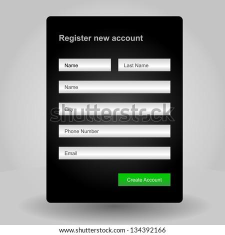 Registration web site form - stock vector