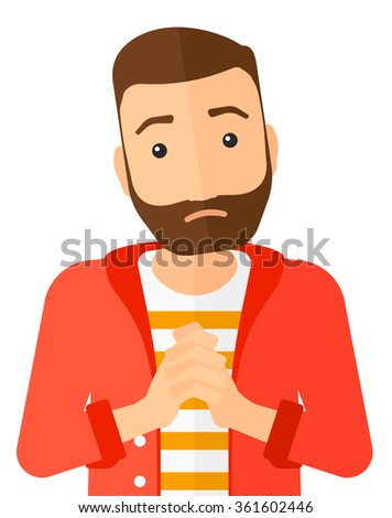 Regretful man with clasped hands. - stock vector