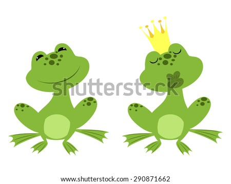regular sitting frog and charmed prince frog in a golden crown waiting for a kiss - stock vector