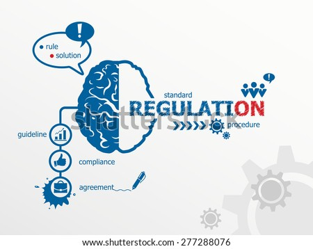 Regulation concept and brain. Hand writing Regulation with blue marker. - stock vector