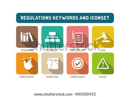 Regulations Flat Icon Set - stock vector