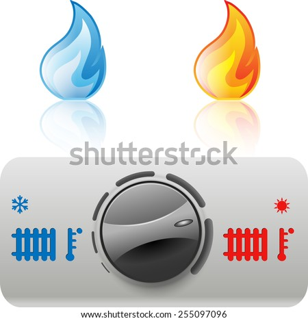 Regulator boiler heating and hot water. Flame icon. Vector. Illustration - stock vector
