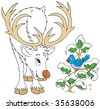 Reindeer and bird - stock vector