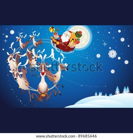 Reindeer And Santa Claus Christmas - stock vector
