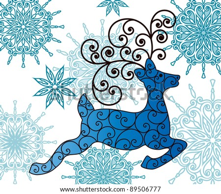 reindeer and snowflakes - stock vector