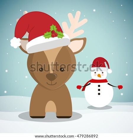 reindeer and snowman cartoon icon. Merry Christmas decoration and season theme. Colorful design. Vector illustration