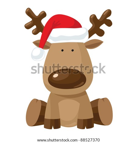 Reindeer child sitting in Christmas red hat. - stock vector