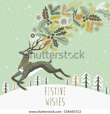 Reindeer Christmas card design - stock vector