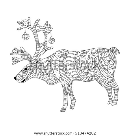 reindeer coloring page in zentangle style - Reindeer Coloring Page