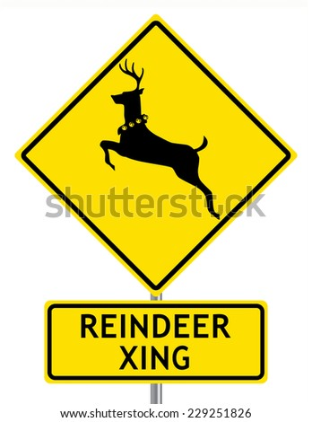 Reindeer Crossing Road Sign Isolated on White - stock vector