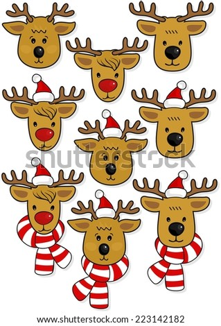 reindeer faces, in Santa Claus hats and in hats and scarfs Christmas winter holidays animal set isolated on white background - stock vector