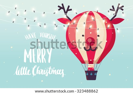 reindeer hot air balloon christmas greeting template vector/illustration - stock vector