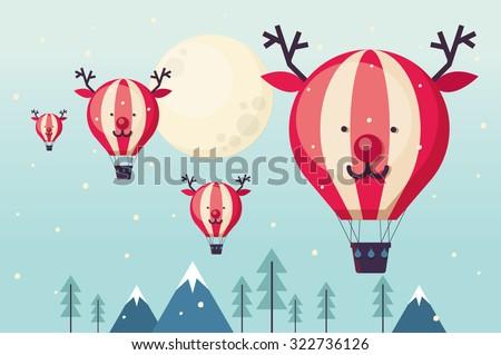 reindeer hot air balloon vector/illustration - stock vector
