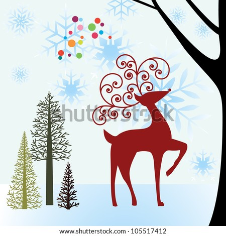 reindeer in snowy forest meadow - stock vector