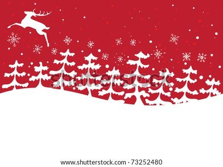 Reindeer jumping over snow - stock vector