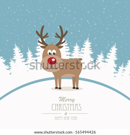 reindeer merry christmas winter background - stock vector