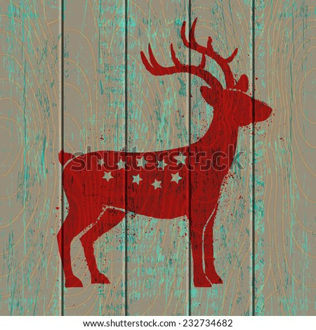 Reindeer on old wooden background - stock vector