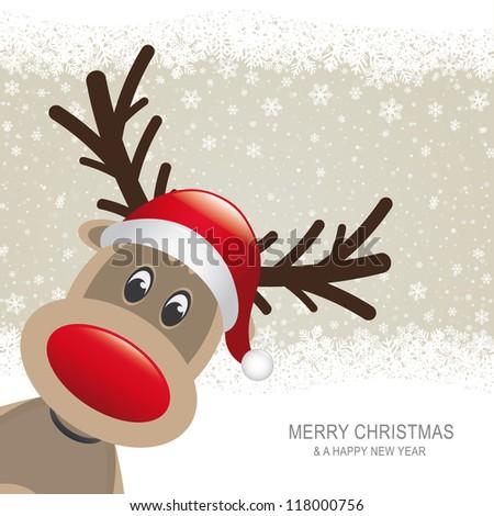 reindeer red hat brown snow snowflake background - stock vector