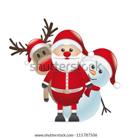 reindeer red nose land snowman santa claus - stock vector