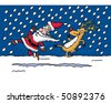 Reindeer & Santa - stock vector