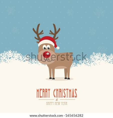 reindeer santa hat snow winter background - stock vector