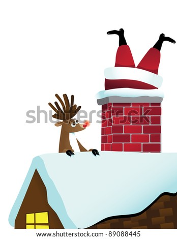 Reindeer sees Santa stuck in the chimney EPS 8 vector, grouped for easy editing,