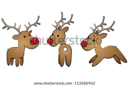 reindeer-set - stock vector
