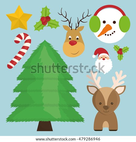 reindeer snowman santa pine tree candy star icon. Merry Christmas decoration and season theme. Colorful design. Vector illustration