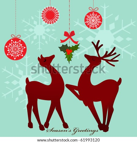 Reindeer under mistletoe - stock vector