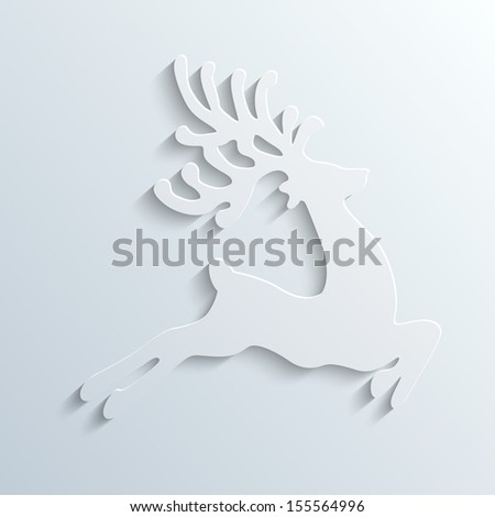 reindeer winter fly - stock vector