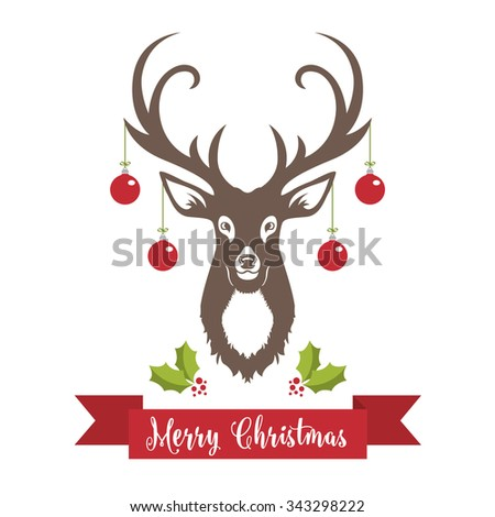 Reindeer with Merry Christmas Banner