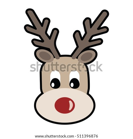 Vector Illustration Face Rudolf Red Nosed Stock Vector ...