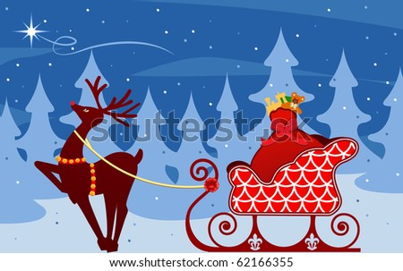 reindeer with sleigh  looking to star - stock vector