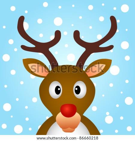 Reindeer with snow background - stock vector