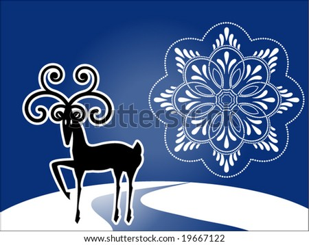 reindeer with unique snowflake - stock vector