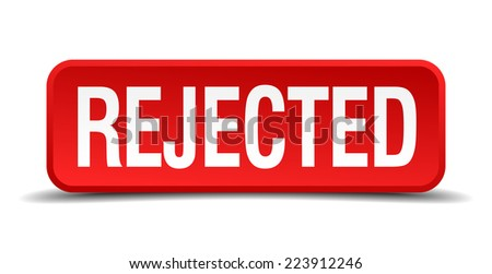 Rejected red 3d square button isolated on white - stock vector