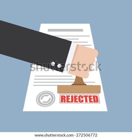 Rejected stamp in hand businessman - stock vector
