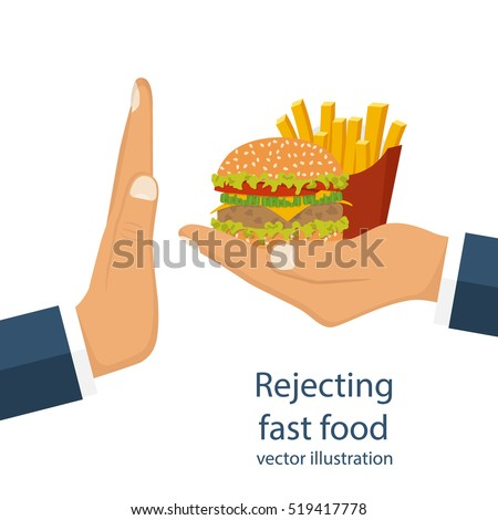 rejecting offered junk food gesture hand のベクター画像素材