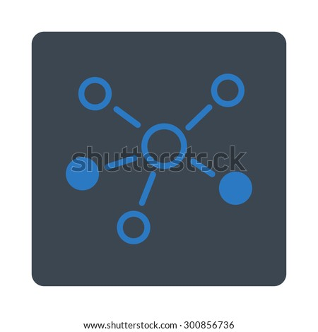 Relations icon. Vector style is smooth blue colors, flat rounded square button on a white background. - stock vector