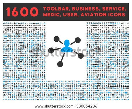 Relations vector icon and 1600 other business, service tools, medical care, software toolbar, web interface pictograms. Style is bicolor flat symbols, blue and gray colors, rounded angles, white - stock vector