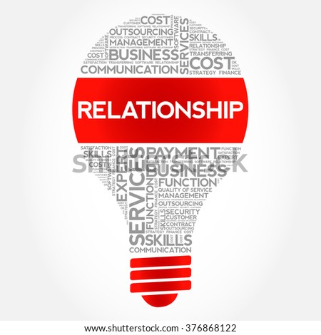 Relationship bulb word cloud, business concept - stock vector