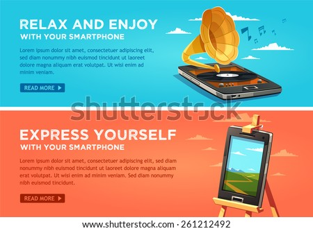 Relax and enjoy with your smartphone. Express yourself with your smartphone. Vector flat banners set. - stock vector